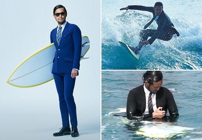 Empresa lança terno à prova d'água para surfistas que não têm tempo a perder entre a praia e o escritório