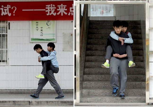 O menino que carrega seu melhor amigo nas costas para a escola há 3 anos