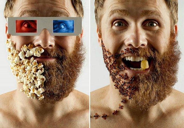 Artista brasileiro raspa metade da barba e a completa com objetos divertidos