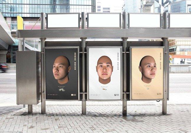 Ação em Hong Kong usa DNA de pessoas que jogam lixo nas ruas para exibir seus rostos em outdoors