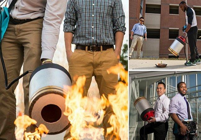 Universitários inventam extintor portátil que apaga fogo com o poder do som