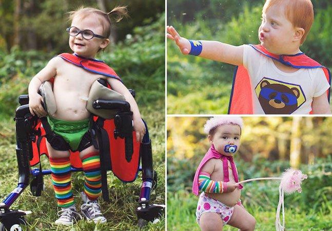 Fotógrafa cria cenários mágicos e transforma crianças com deficiência em super-heróis