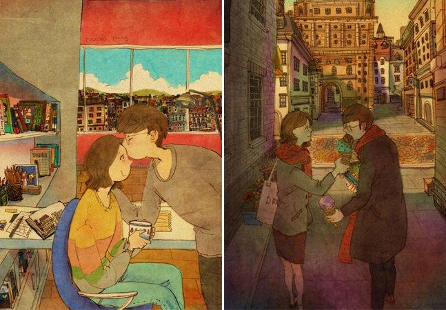 Ilustradora cria arte que traduz pequenos fragmentos do amor no cotidiano