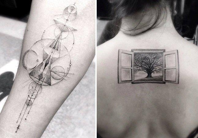 As tatuagens geométricas e de traço fino do artista Dr. Woo