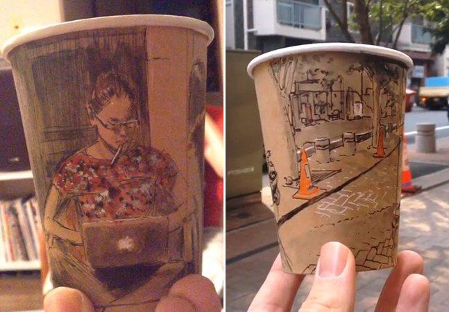 Artista cria ilustrações panorâmicas em copos de café descartáveis