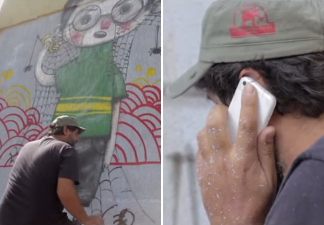 Grafiteiro cria mural no tempo em que tenta cancelar serviço de telefonia e internet