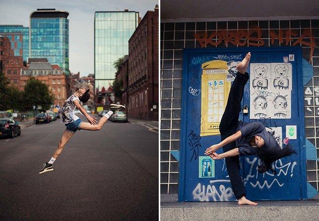 Dançarinos improvisam coreografia em frente às câmeras no meio da cidade