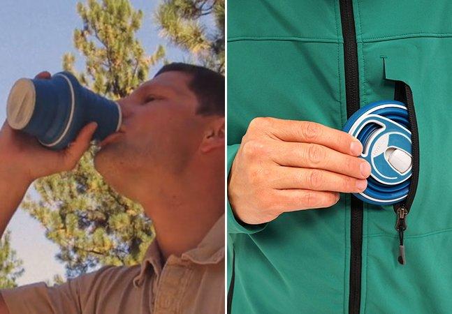 A garrafa de água dobrável e reutilizável que cabe no seu bolso