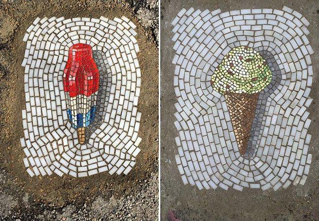 Artista conserta buracos nas ruas da sua cidade com arte em formato de sorvete