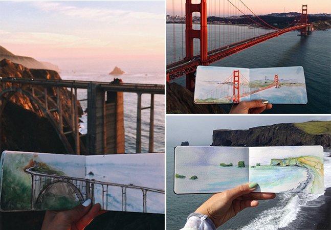Artista pinta paisagens em aquarela usando água encontrada nos lugares