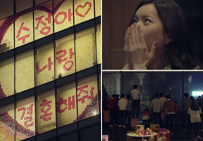 Homem pede namorada em casamento usando milhares de post-its na janela