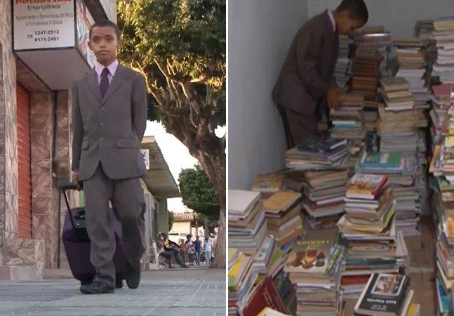Garoto de 10 anos recolhe livros em casa de pessoas para montar biblioteca pública na sua cidade