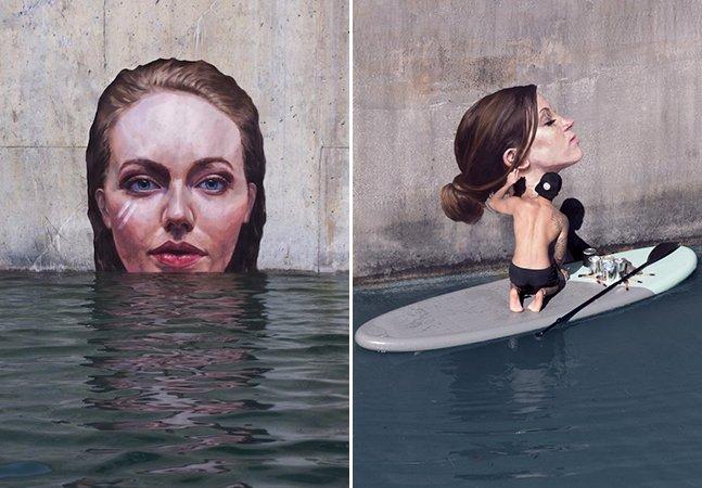 Artista de rua cria murais hiperrealistas de mulheres dentro d'agua