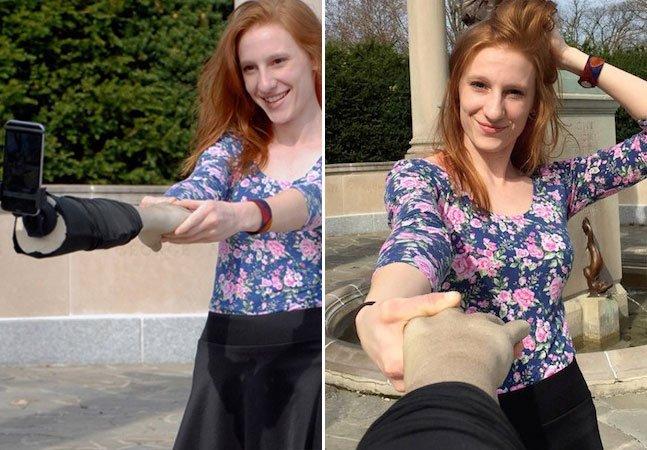 Empresa troca pau de selfie por braço e ajuda quem quer simular companhia nas redes sociais