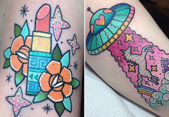 Conheça as tattoos vibrantes e cheias de cor da americana Kelly McGrath