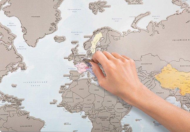 """Mapa de """"raspar"""" permite marcar os países que você já visitou"""