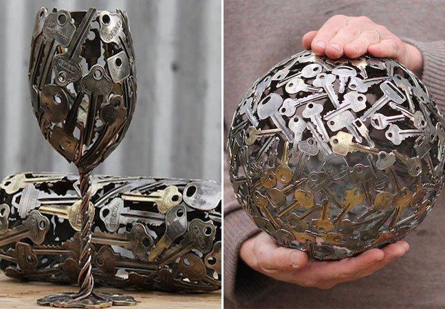 Artista transforma moedas e chaves em incríveis objetos de decoração