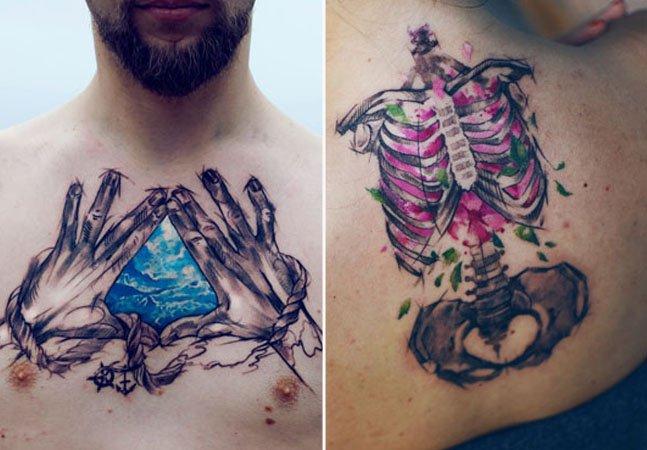 Artista usa geometria e técnicas de aquarela para criar tattoos incríveis