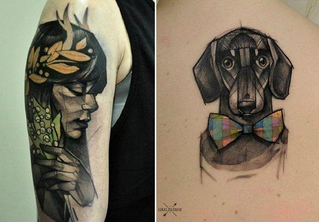 Artista polonês usa geometria pra criar incríveis tatuagens de pessoas e animais