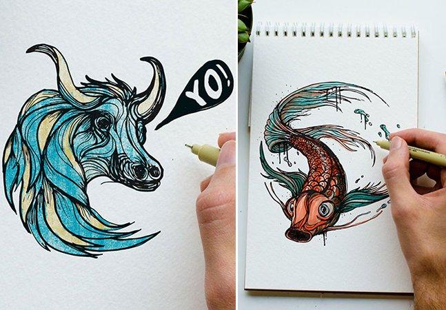 Pai desenha um animal por dia em forma de letras para ensinar o alfabeto para seu filho