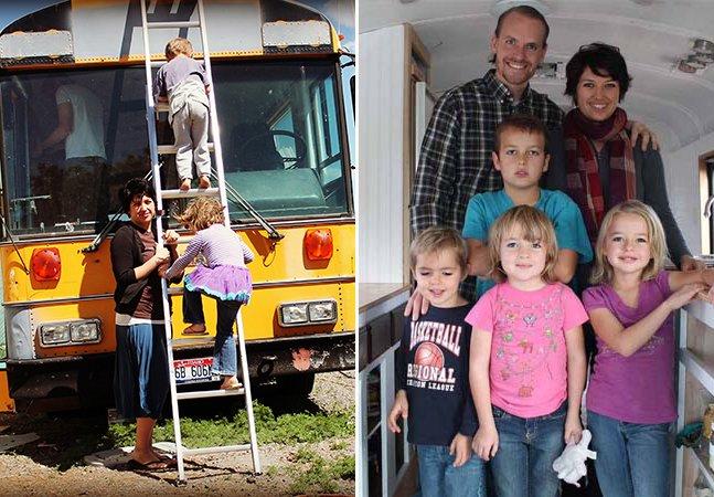 Família com quatro filhos reforma ônibus antigo para chamá-lo de lar