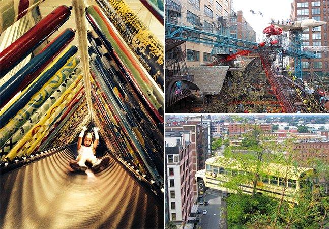 Antiga fábrica de sapatos é transformada em playground inovador com materiais reutilizados