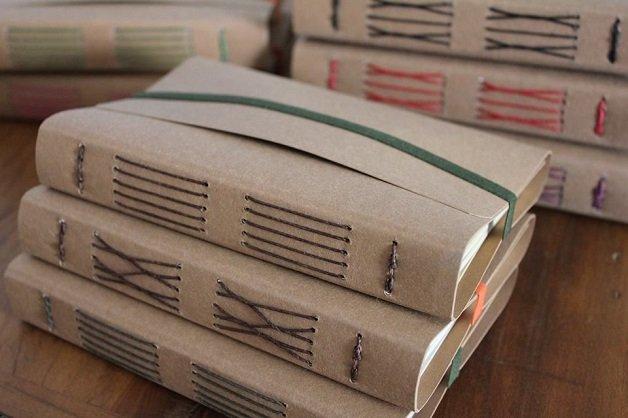 Edna Minerais 2 - cadernos capa fibra de bananeira cozida caldo de cana