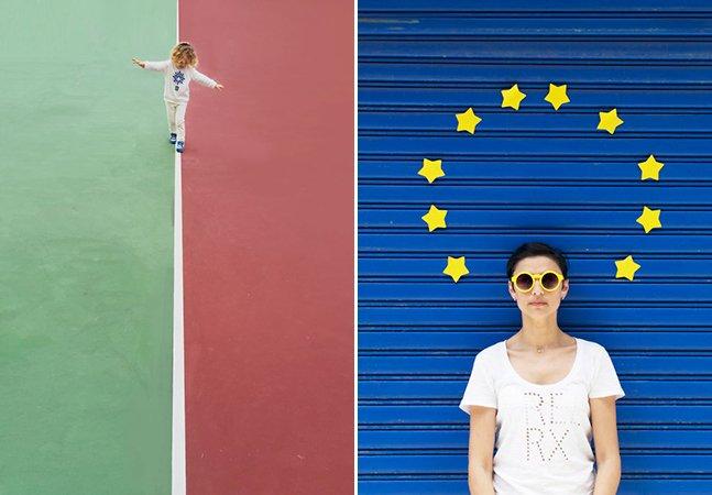 """Fotógrafa sai pelas ruas de Hong Kong com os filhos pra registrar bandeiras de países """"escondidas"""""""