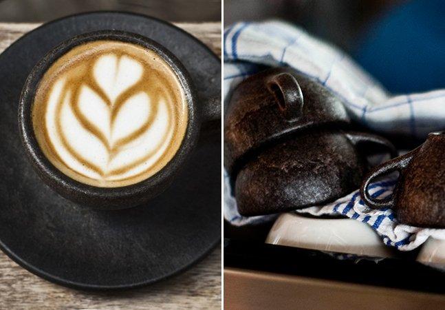 Tome um expresso numa xícara feita com grãos de café