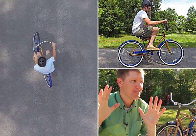 Homem cria bicicleta com direções trocadas que ninguém consegue pedalar