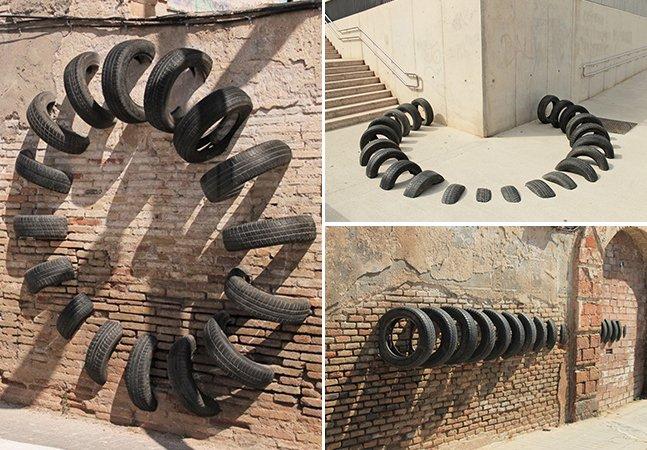As instalações feitas com pneus de carro descartados que parecem se dissolver na superfície