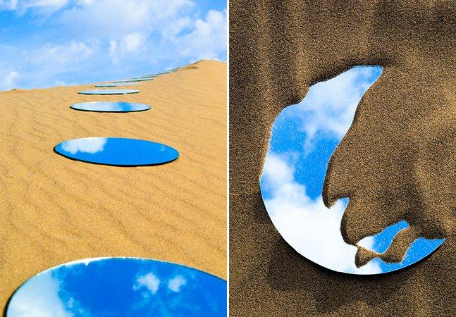 Artista usa espelhos para criar fantásticas instalações no deserto