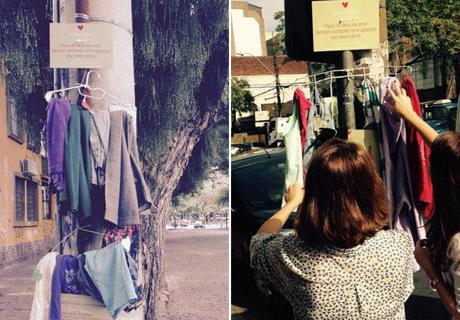 Amor no cabide: iniciativa espalha cabides com roupas para aquecer quem precisa