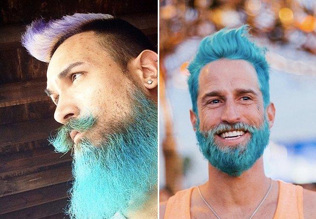 Homens aderem à tendência e colorem barbas e cabelos com cores vibrantes