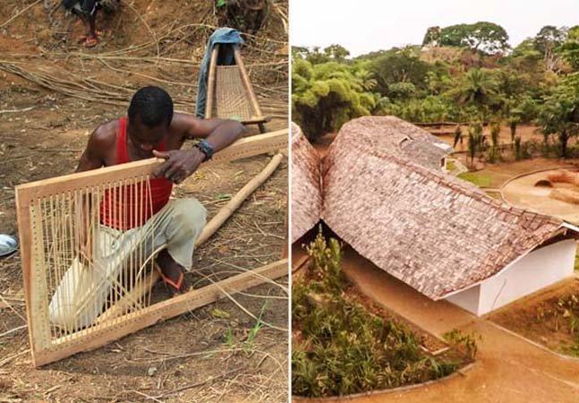 Arquitetos criam escola sustentável em vila remota usando apenas materiais encontrados na floresta