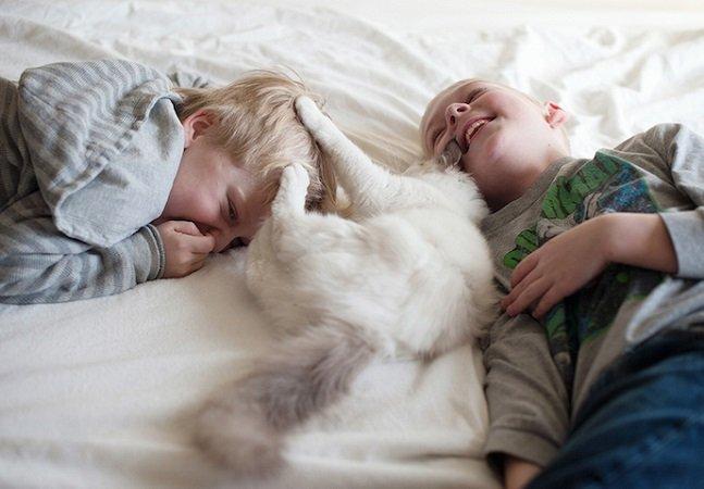Mãe capta belos momentos de amizade entre os três filhos e seus gatos