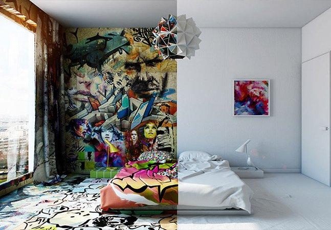 Designer divide quarto de hotel em dois mundos, entre o graffiti e o minimalismo