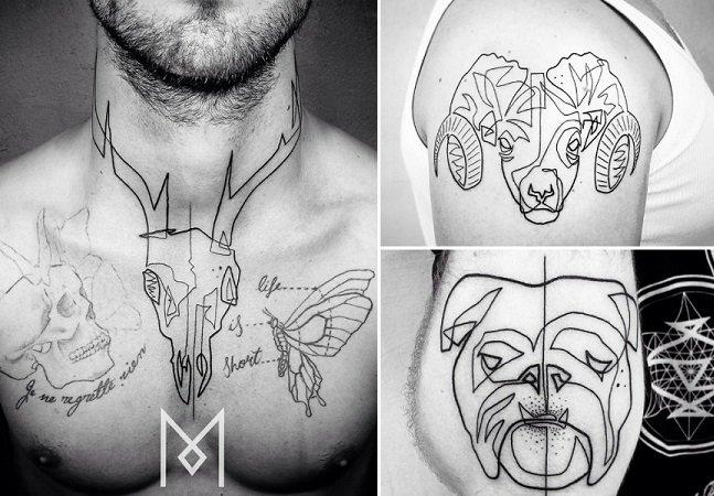 As tatuagens de traços finos e linhas únicas do artista Mo Ganji