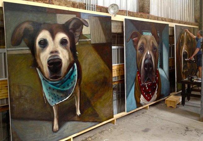 Artista pinta 5500 retratos de cães  para representar o número de animais mortos por dia em abrigos nos EUA