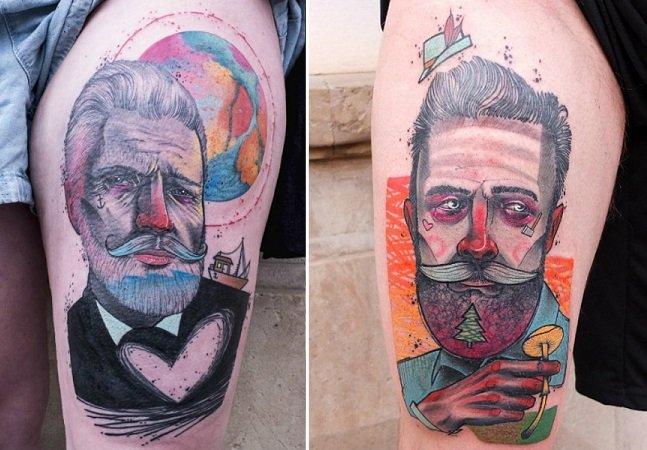 Se você gosta de tatuagens coloridas e marcantes, precisa conhecer o trabalho desse artista