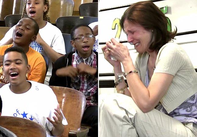 Crianças cantam em homenagem emocionante para professora diagnosticada com câncer de mama