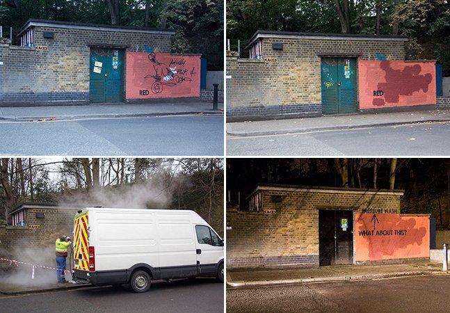 """Grafiteiro registra em fotos sua """"batalha"""" contra uma equipe de limpeza"""