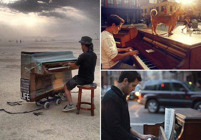Homem deixa seu emprego e sai pelo mundo para tocar piano em lugares inusitados