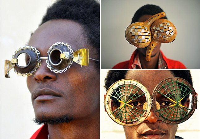 Artista queniano cria óculos incríveis com material encontrado no lixo