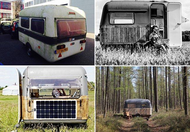 Homem transforma caravana antiga em incrível escritório móvel equipado com Wi-Fi e máquina de fazer café