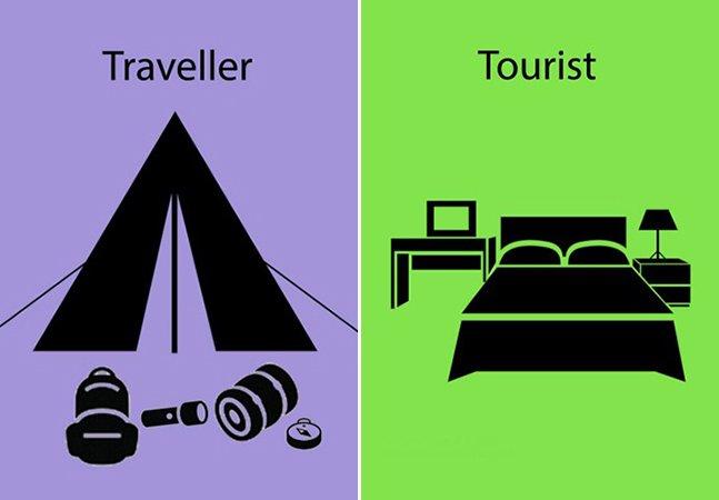 Série de ilustrações mostra a diferença entre um turista e um viajante