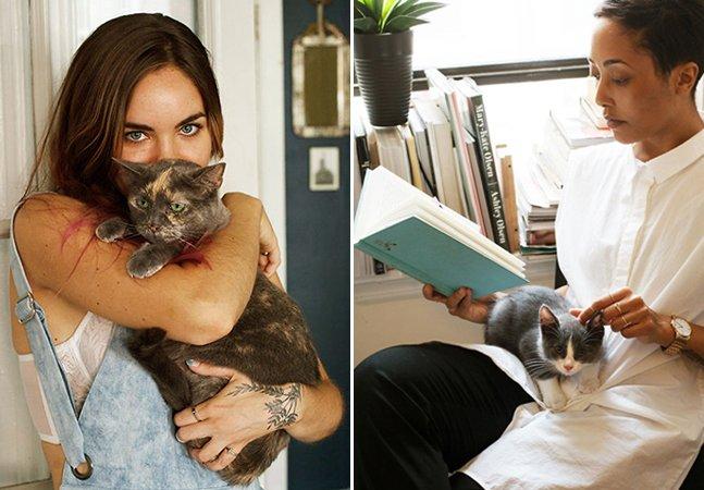 Fotógrafa cria série retratando mulheres e seus gatos adotados