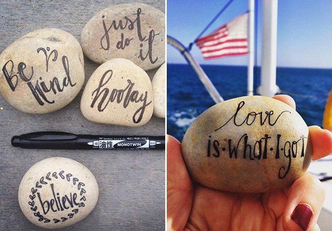 Brasileira espalha pedras com frases positivas pelo mundo para melhorar o dia das pessoas