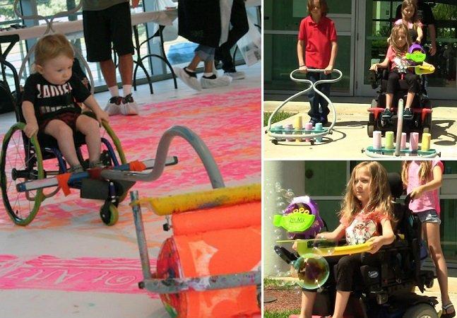 Artista cria dispositivo que  permite que crianças cadeirantes  se divirtam pintando no chão