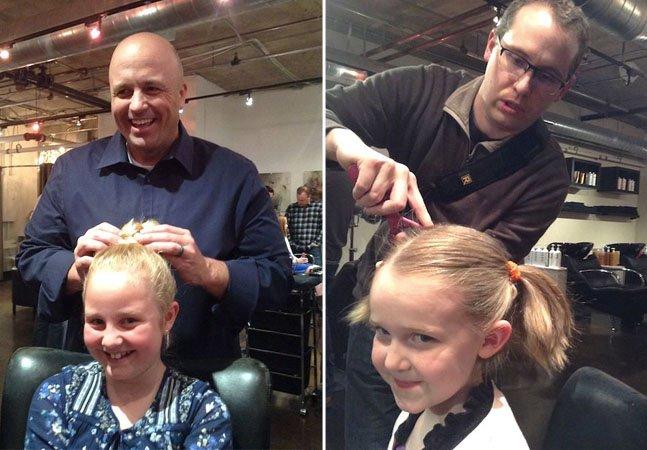 Salão de beleza ensina pais a arrumar o cabelo de suas filhas